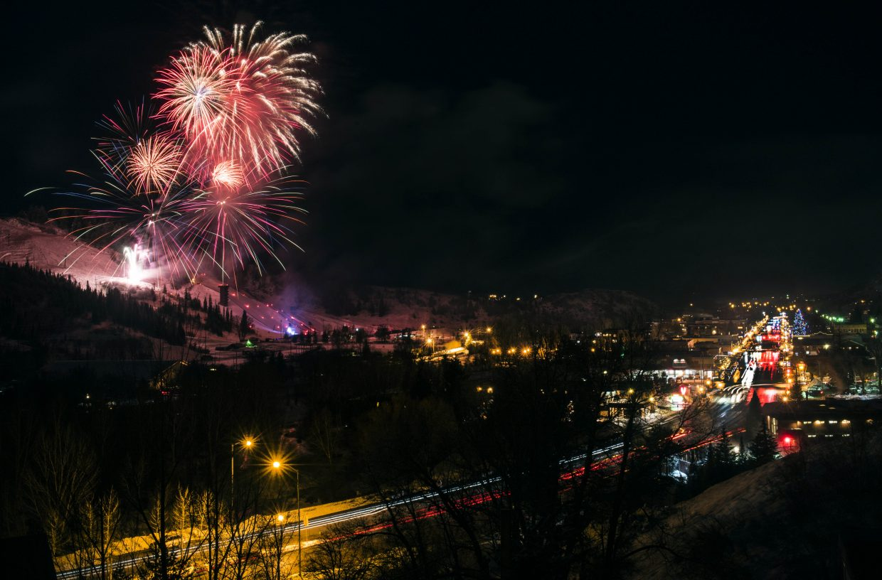 Fireworks explode over Steamboat Springs on Saturday night during Winter Carnival.