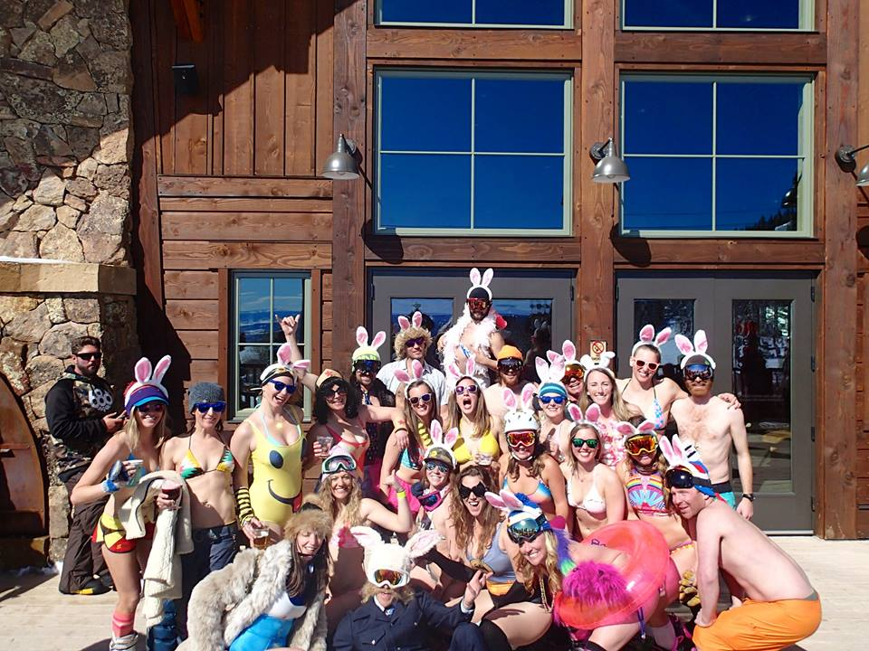 At Four Points, the Bikini Run group stops to take a picture.