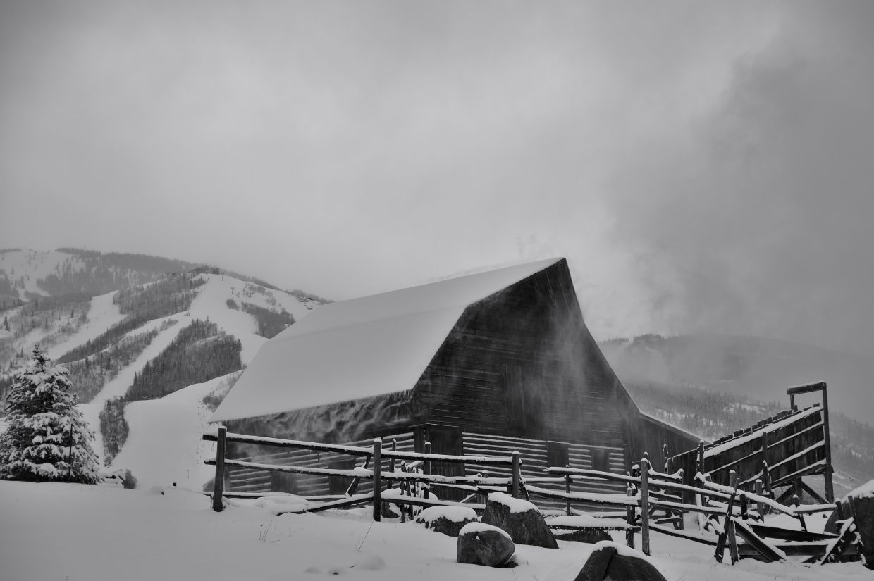Last Day Storm: The More Barn with a little wind and snow. Submitted by Matt Helm.