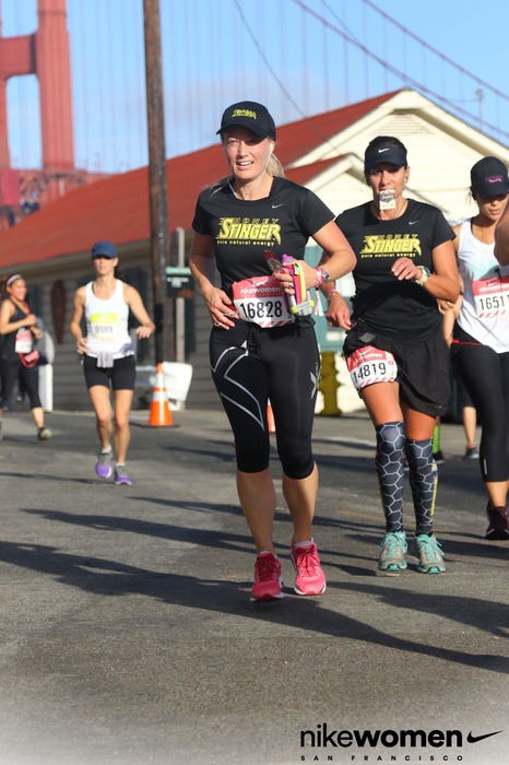 Jennifer Shea, director of sales for Honey Stinger, competes at the Nike Women's half-marathon in San Francisco.