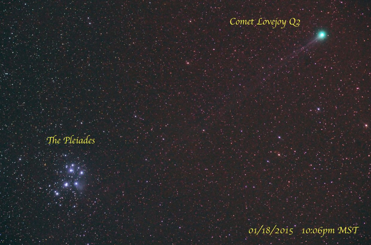On Sunday night, Comet Lovejoy Q2 posed beside the lovely Pleiades star cluster, as seen in this telephoto time exposure image. The comet's faint ion tail stretched all the way back to the Pleiades. The two will remain close together on the sky for the remainder of this week. The Pleiades cluster is nearly overhead when darkness falls around 7 p.m., and the faint fuzz ball of the comet's head will appear about a fist width to the right (west) of the cluster. Binoculars will enhance the view and reveal the comet's faint tail.