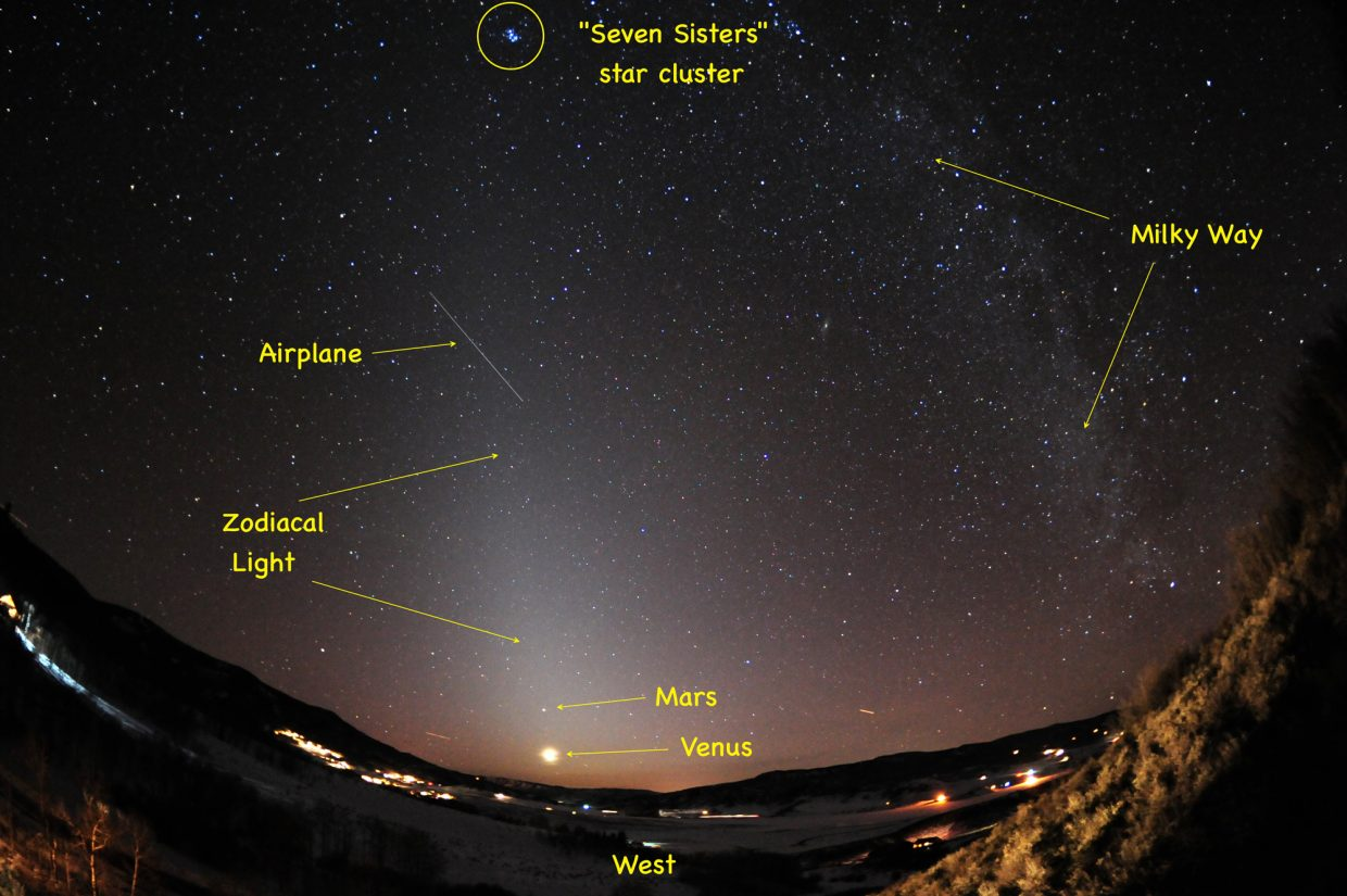 Look west around 7 to 7:30 p.m. to catch the illusive zodiacal light this week. Planets Venus and Mars, immersed in the zodiacal light, will be joined by the slender crescent moon Friday night, creating a magnificent cosmic moment.