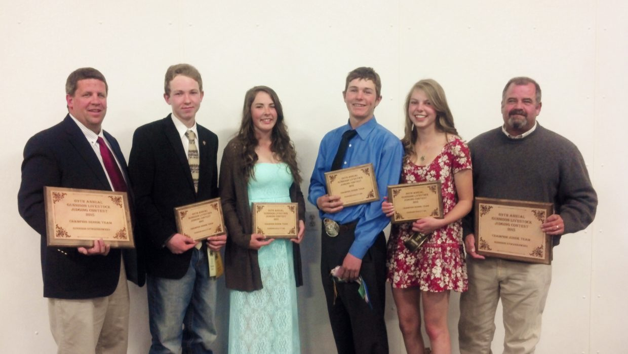 Routt County's 4-H livestock judging senior team placed first in a Gunnison competition and second in a Montrose competition last weekend.  Pictured, from left, Coach Rod Wille, Tell Belton, Hayleigh Aurin, Will Anderson, Hallie Myhre and Coach Rod Olinger.