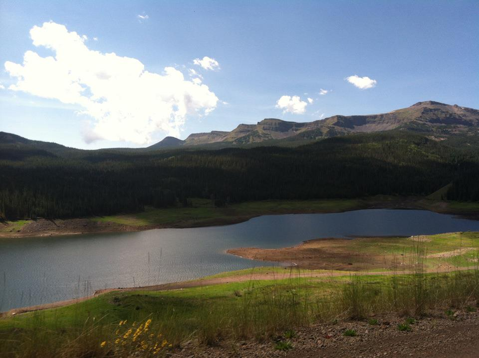 Greg Johnson spoke about his favorite places to hike and camp in the Flat Tops Wilderness Area. This view is one of many in this vast area out toward Stillwater Reservoir with a thick Alpine forest and picturesque views.