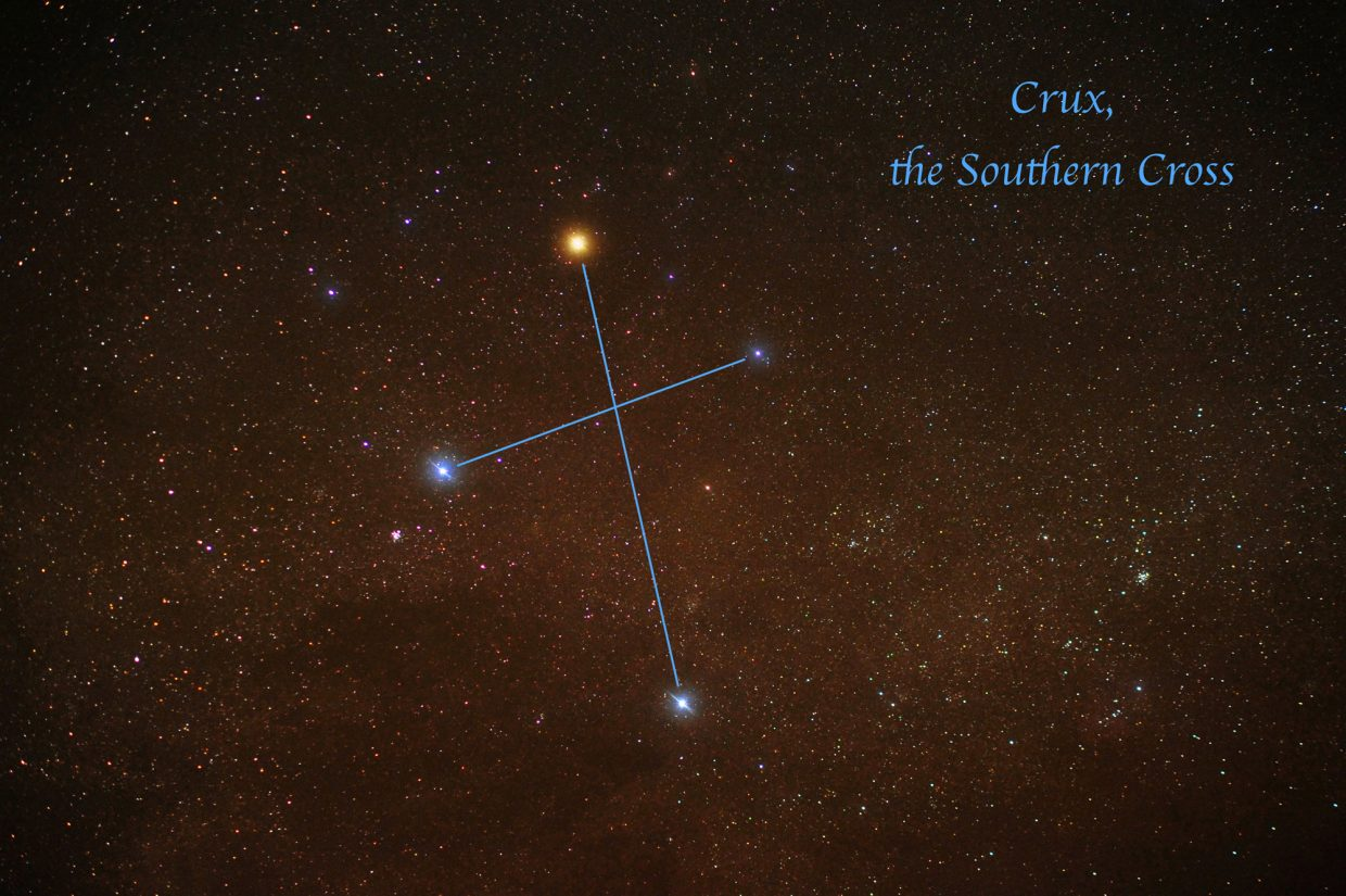 The four bright stars forming the constellation of Crux, the Southern Cross, were recently captured in this photograph from the big island of Hawaii. From the 48 contiguous United States, one must travel south to Key West, Florida, or Brownsville, Texas, to see Crux in its entirety. None of the stars of the Southern Cross are visible from Colorado.