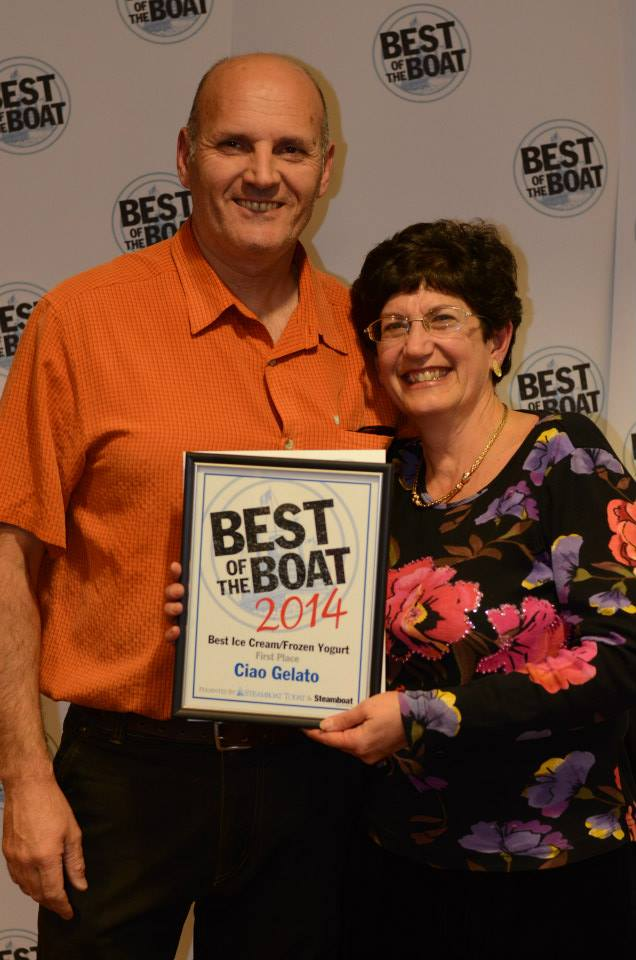 Ciao Gelato owners pose for a photo at the 2014 Best of the Boat party at the Steamboat Grand.