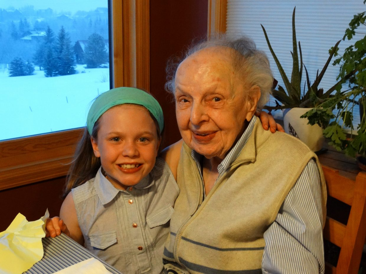 This weekend we shared a very special birthday celebration and I felt compelled to send a photo in. Our daughter Kristina Mitchell turned 9 the same weekend as our adopted Steamboat great grandma Dora Stockton who was 99. We have shared a birthday dinner every year since Kristina was born, but this one was extra special - 999! Both birthday girls live here in Steamboat. Submitted by: Suzi Mitchell