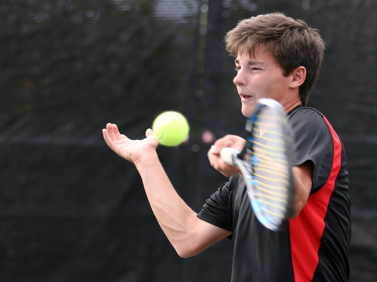 Steamboat Springs High School senior Nolan Connell competes against Aspen on Tuesday at the Aspen Golf and Tennis Club.