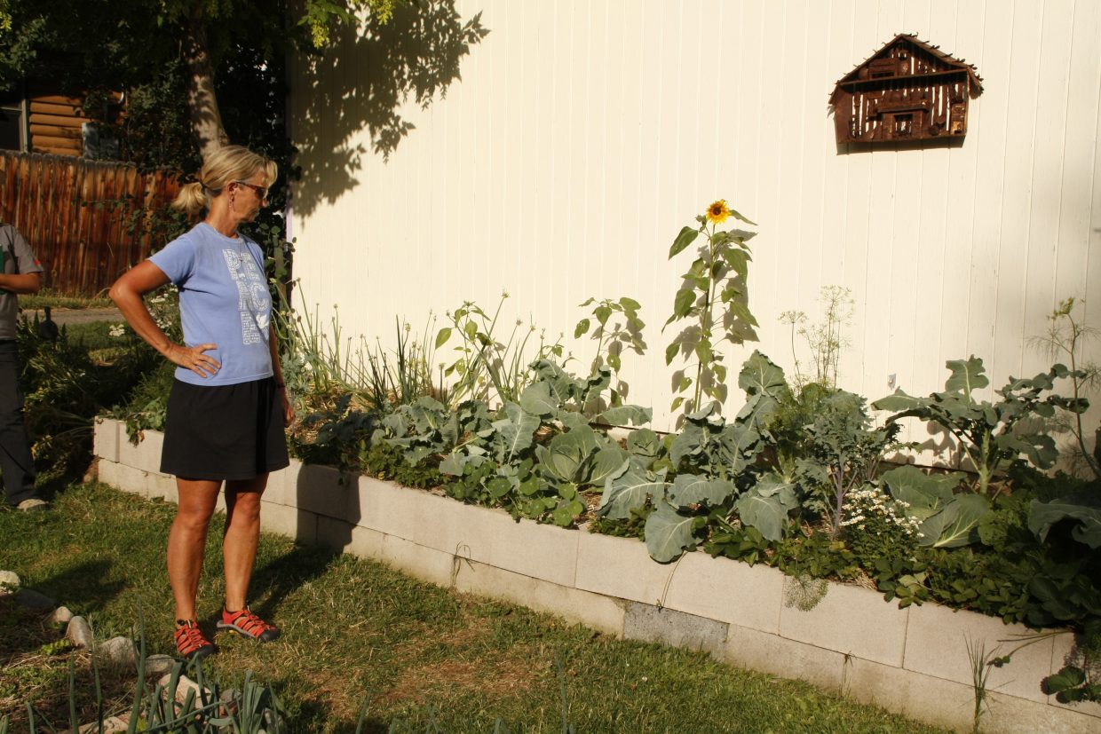 Linda Lewis shows off one of her companion-focused permaculture gardens on the 2012 YVSC Garden Tour.