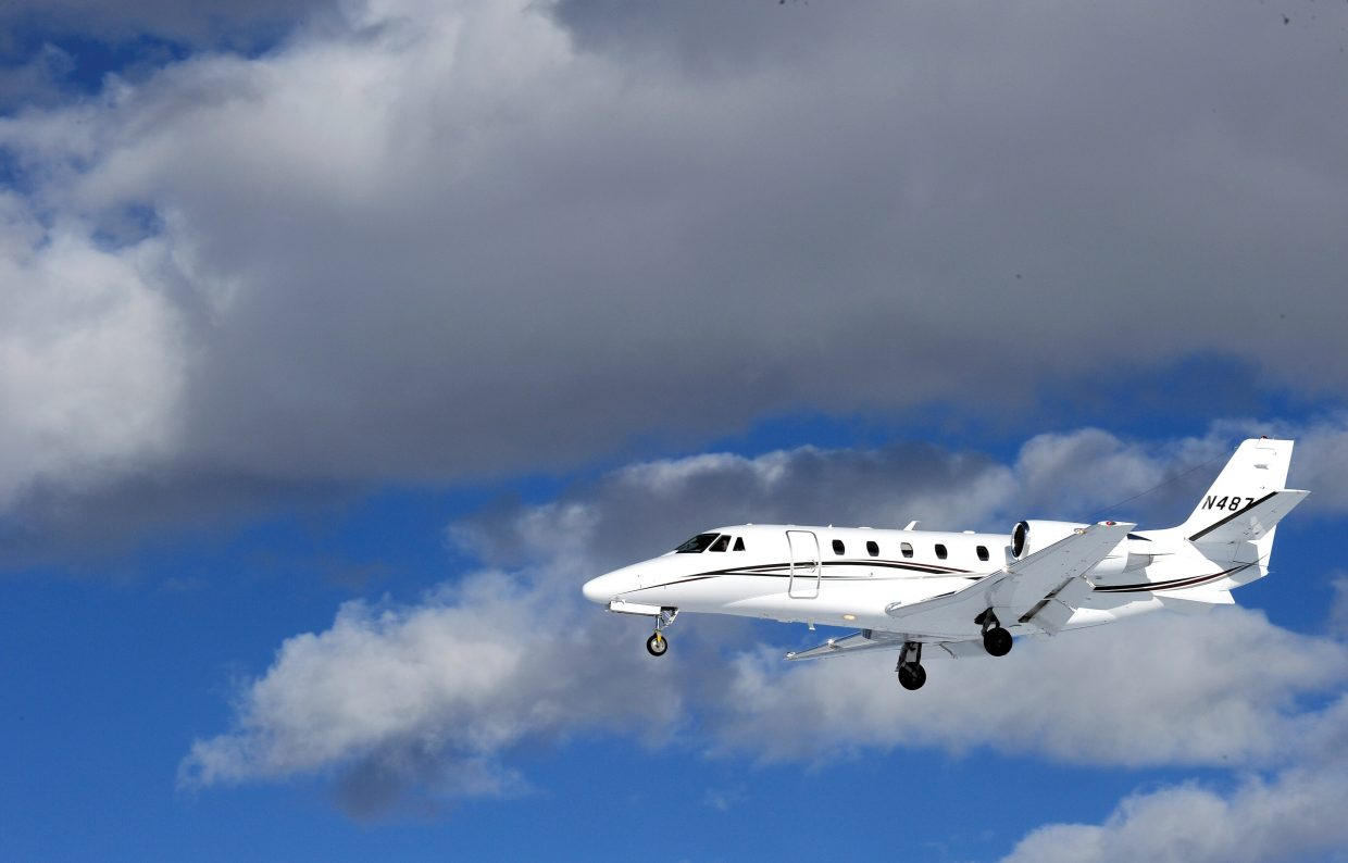 A jet airplane lands at Yampa Valley Regional Airport near Hayden. Sixel Consulting will present the preliminary findings of a YVRA air service study to the Routt County Board of Commissioners on Tuesday.