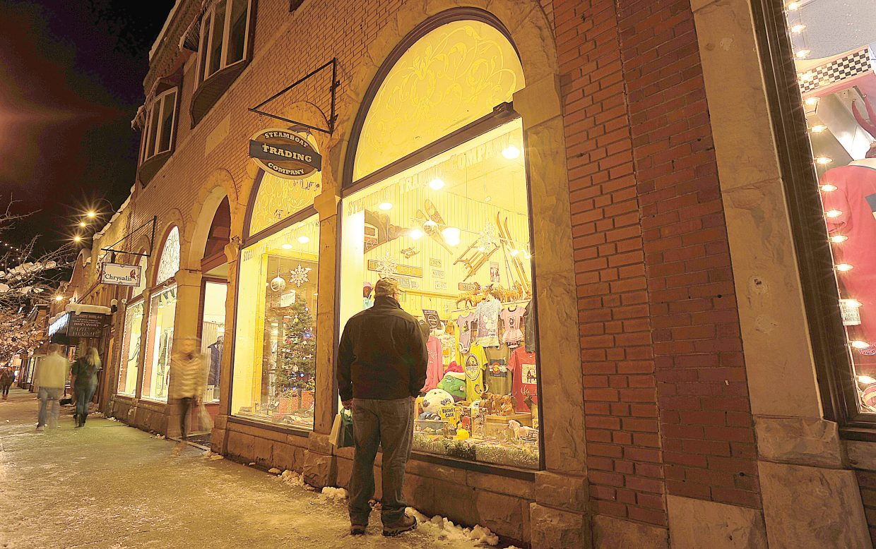 Vince Bradley, of Tampa, Fla., window shops for some last-minute gifts in downtown Steamboat Springs.