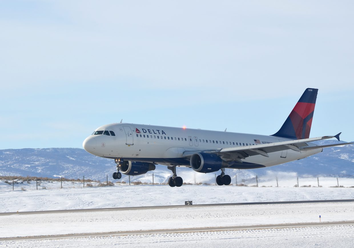 A Delta Airlines Airbus 320 from Atlanta prepares to touch down Thursday at Yampa Valley Regional Airport in Hayden. The airport was expecting 982 arriving passengers Thursday with the planes 96 percent full in aggregate.