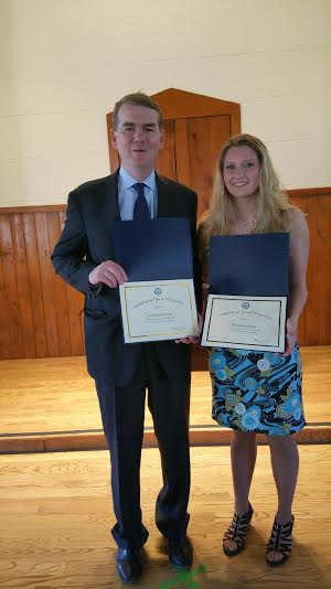 Alexandrea Bryant receiving her double Service Academy Nomination from U.S. Senator, Michael Bennet. United States Air Force Academy and United States Military Academy- West Point. Submitted by KayLynn Bryant.