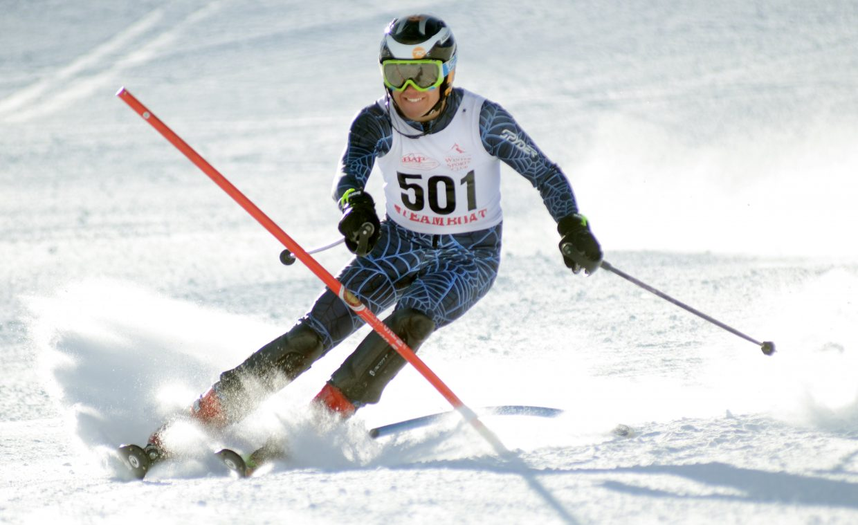 In just his second season as a ski racer, Micah Gibbons finished third in the boys Skimeister competition at state in late February.