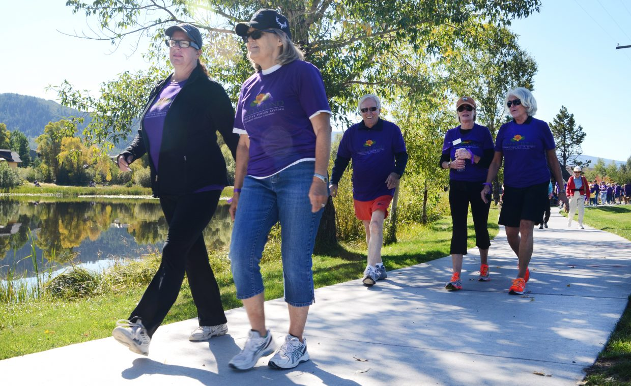 The Walk to End Alzheimer's draws supporters each year for laps around Casey's Pond to raise money for the Alzheimer's Association.