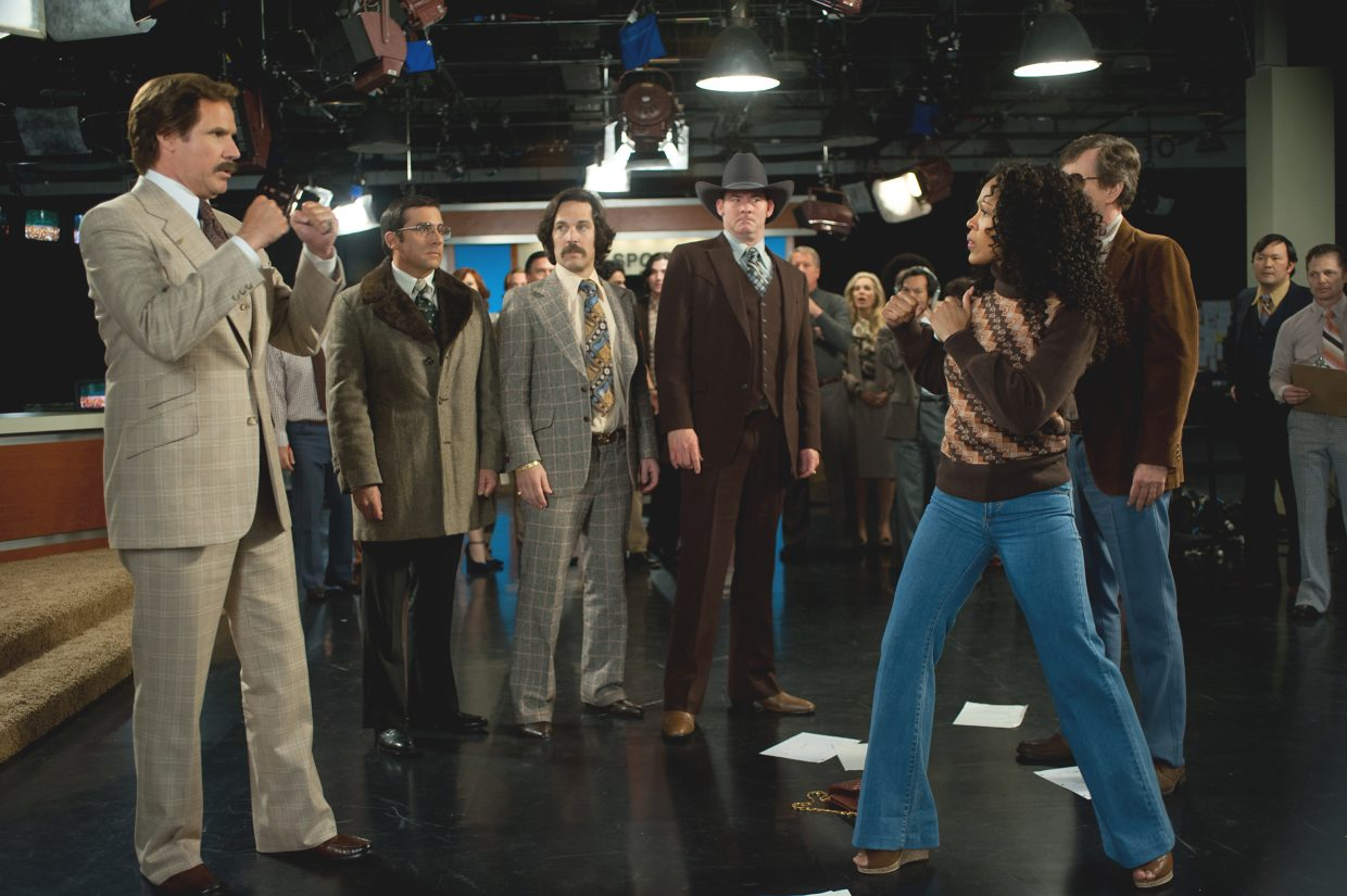 """Ron Burgundy (Will Ferrell) prepares to duke it out with his new boss (Meagan Good) in """"Anchorman 2: The Legend Continues."""" The movie is about the further career of the 1970s San Diego news personality as he moves on to a cable news program."""