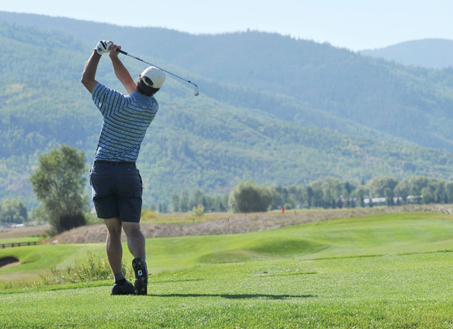 A golfer tees off at the Haymaker golf course near Steamboat Springs last year. Haymaker professional Tom Taylor is hoping that the courses driving range will be open by the end of the week, and that the course will follow.