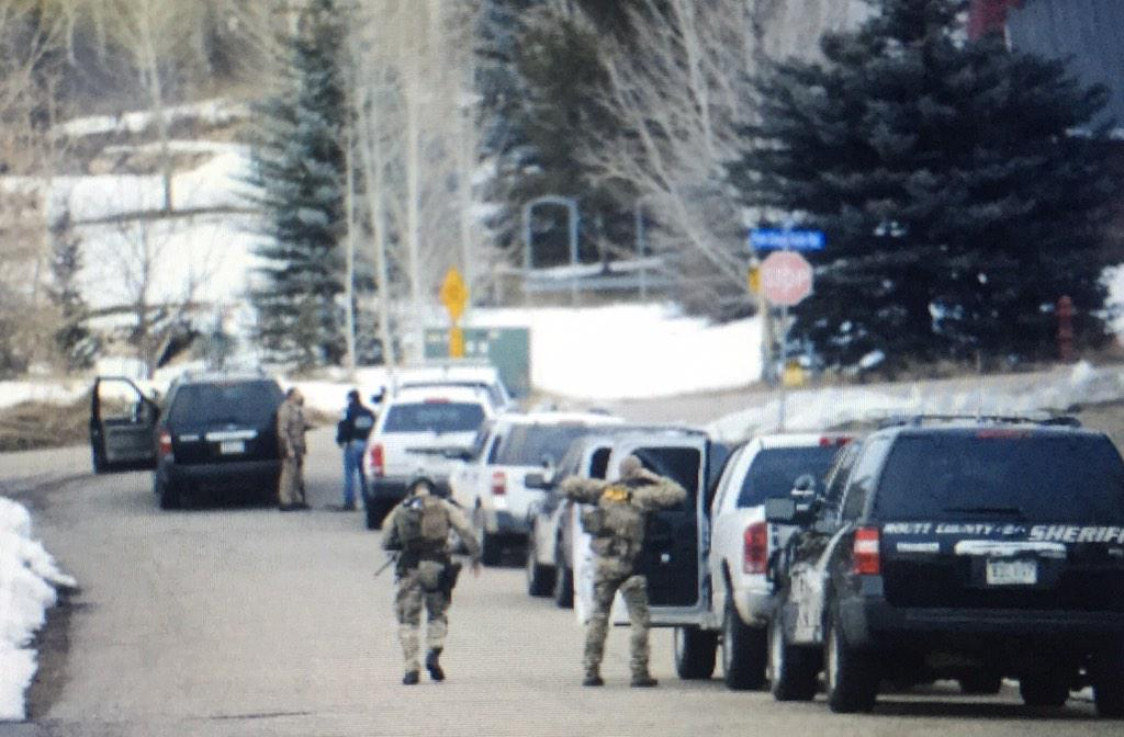 Steamboat Springs police along with the SWAT team are are involved in a standoff with despondent man held up in a house on Huckleberry Lane.