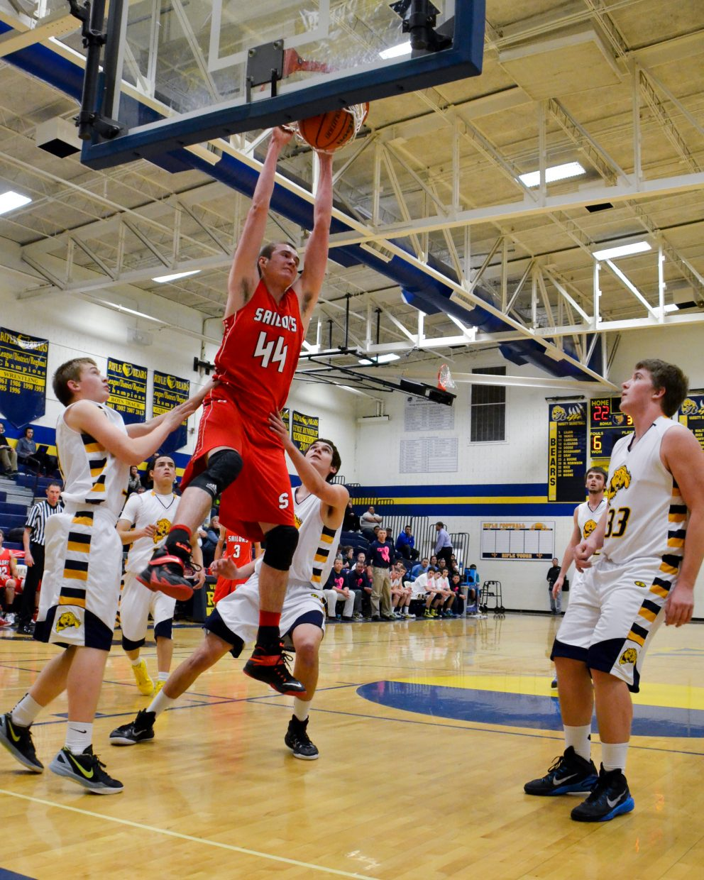 Garrett Bye plays a strong game against Rifle. Submitted by: Jan DePuy