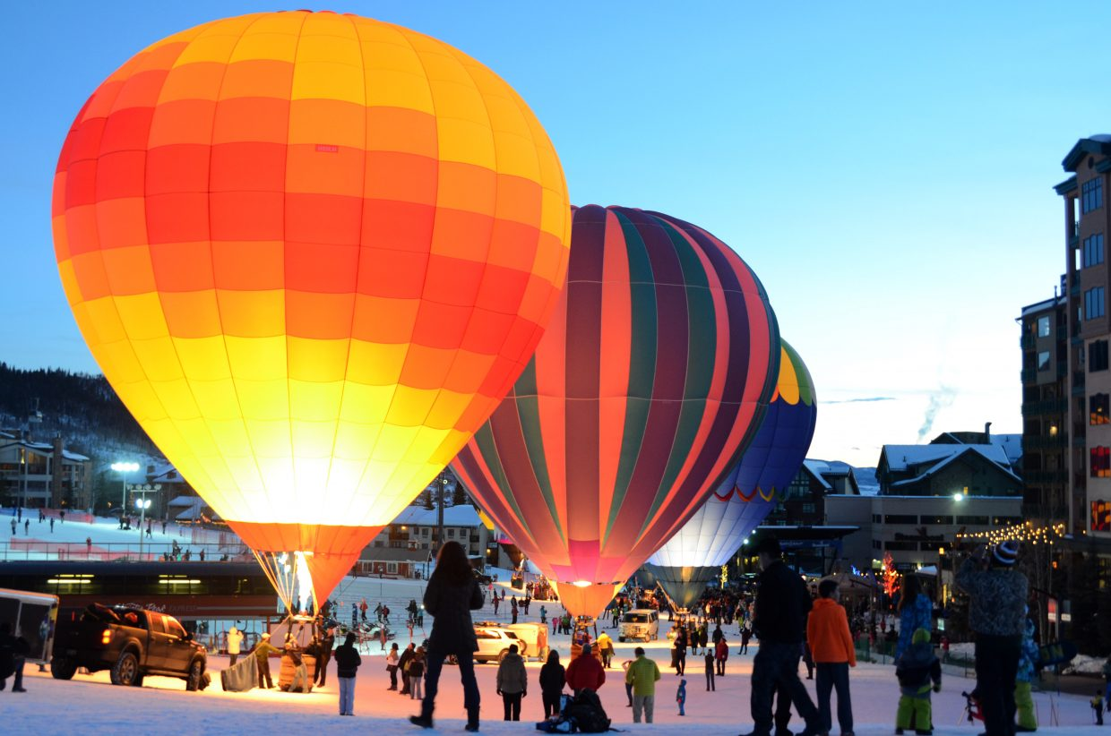 A handful of hot air balloons light up at the base of Steamboat Ski Area set for Sunday this weekend.