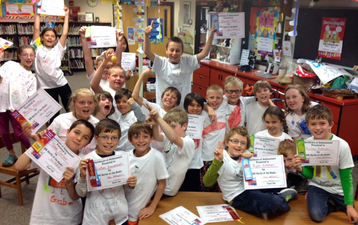 Strawberry Park Elementary's fourth-grade Battle of the Books teams. This year's winners were in fourth grade: Team BOOL, with Brodie Pearson, Otis VandeCarr, Owen Petersen and Luke Wichelhaus. Submitted by Sherry Holland.