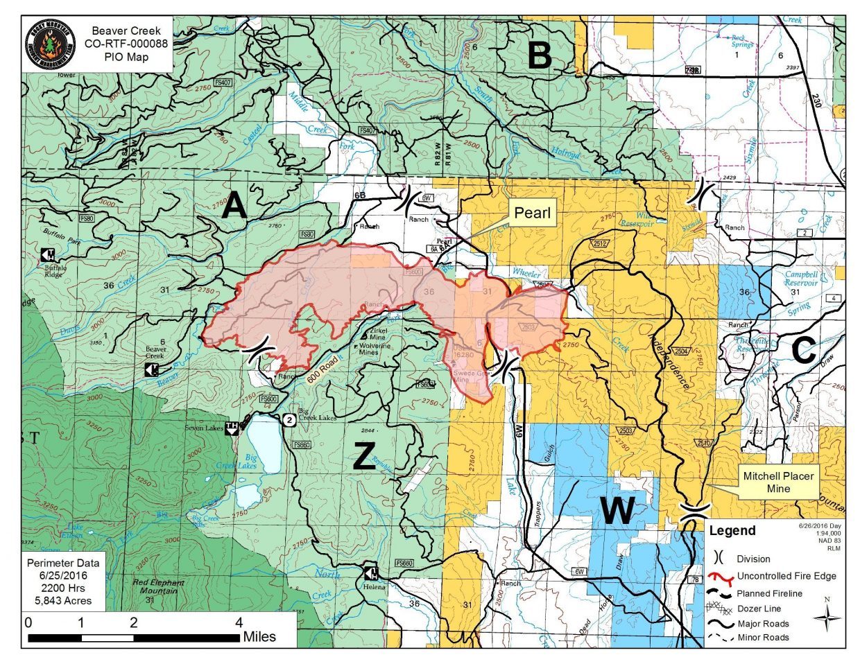 As of Sunday the Beaver Creek Fire was holding at slightly more than 5,400 acres.