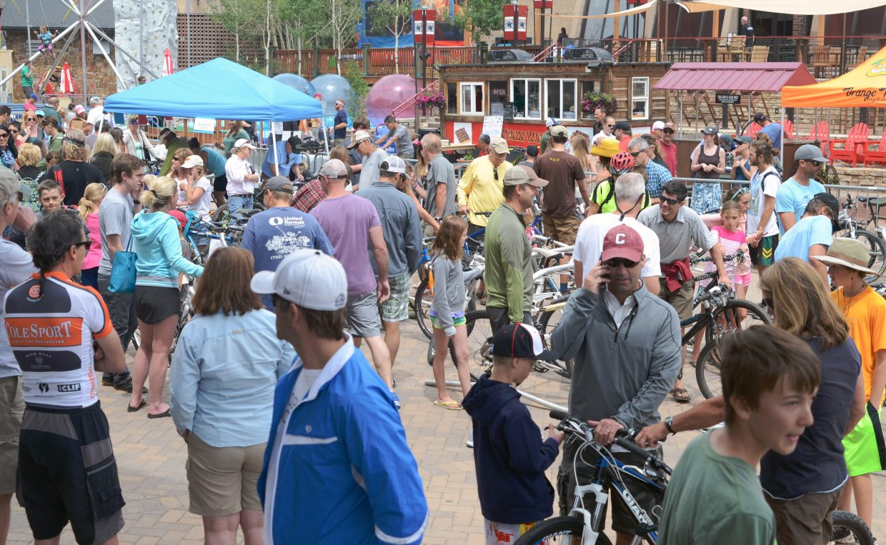 By noon, much of the selection was well picked through at the 2014 Bike Swap festival, but that didn't keep the area in Gondola Square from being jam packed.