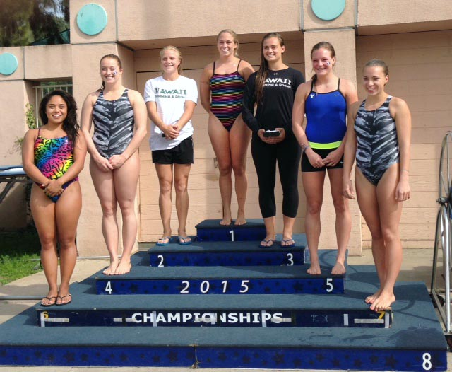 Steamboat Springs High School 2010 graduate Genevieve Bradley, middle podium, and her University of Hawaii swimming and diving teammates won the Mountain Pacific Sports Federation championship in Monterey Park, California, held Feb. 18 to 21. Bradley was the championship's top woman diver with an overall score of 228.95. The Rainbow Wahine swept the platform podium. Bradley trained with the Moffat County High School swim team during her preps career, and as a former walk-on at Hawaii, she is now on full athletic scholarship and will graduate in May.
