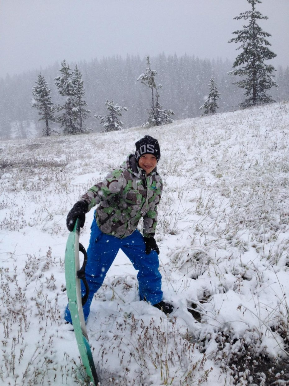 Bryce Zetzman sledding on Rabbit Ears Pass on October 1, 2014. Submitted by: Judy Zetzman