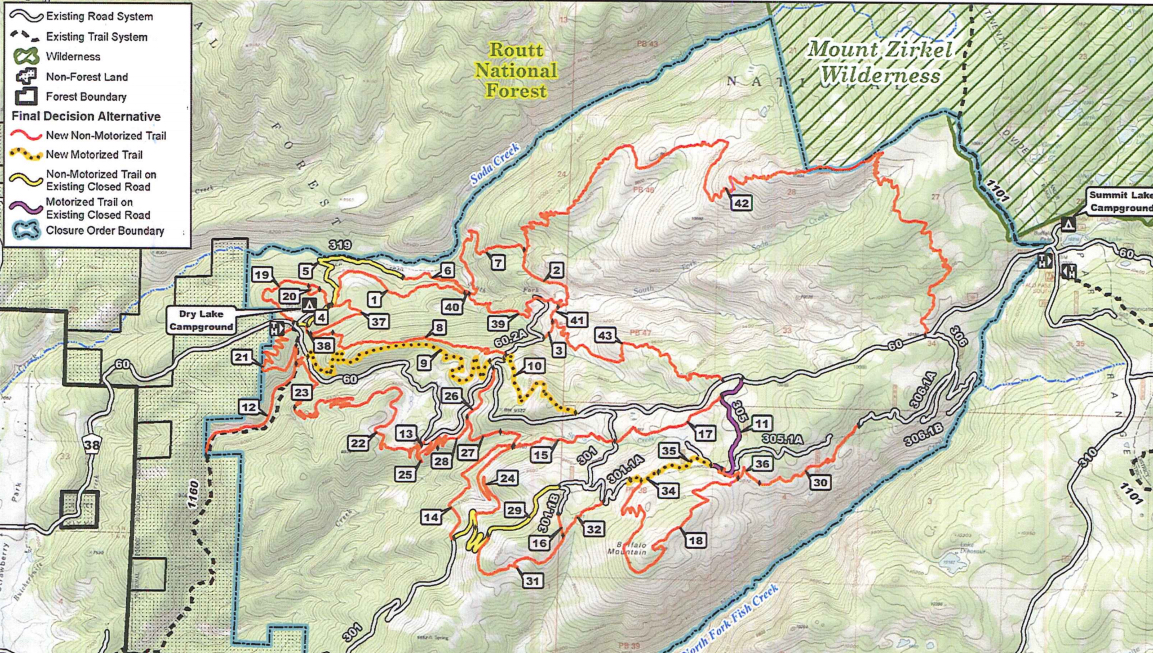A map shows the trail system that will be built on Buffalo Pass.