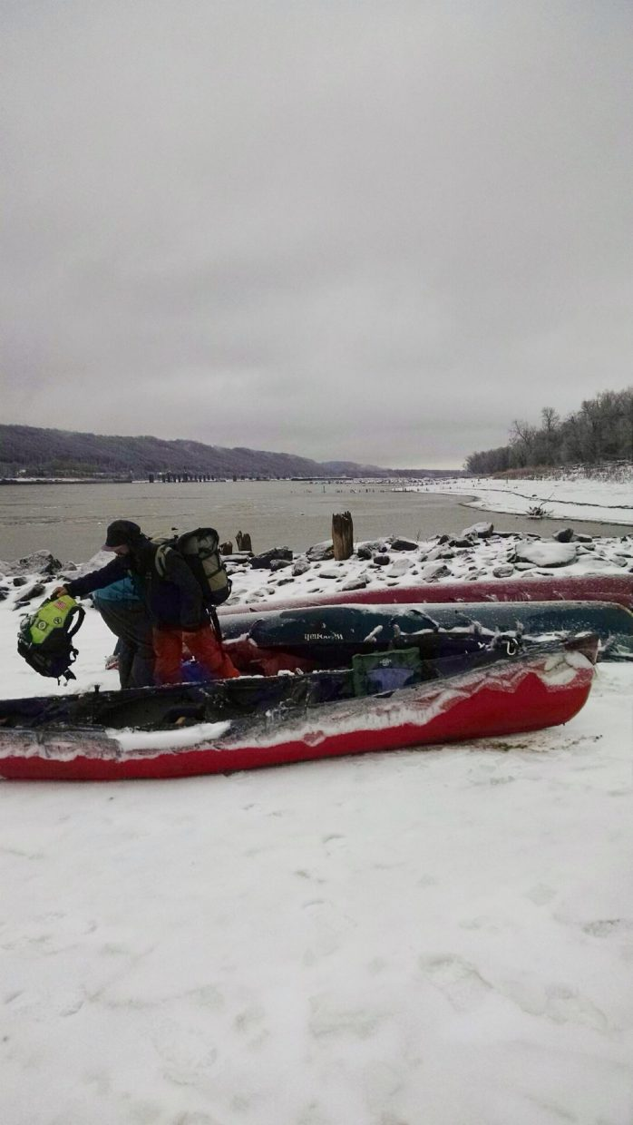 About a week ago, members of the nine-month canoe expedition were greeted by snow, freezing rain and ice.