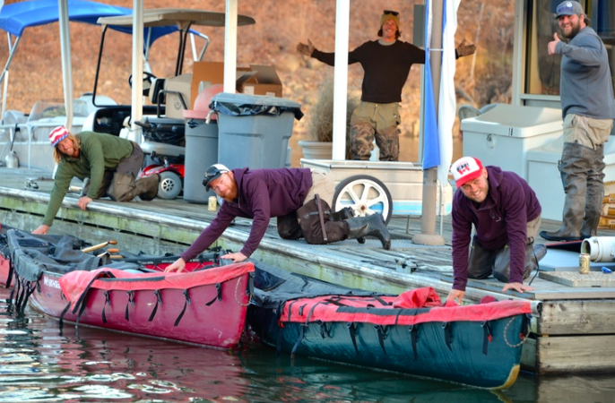 Members of the expedition begin their days around 6 a.m. and paddle an average of 20 miles a day.