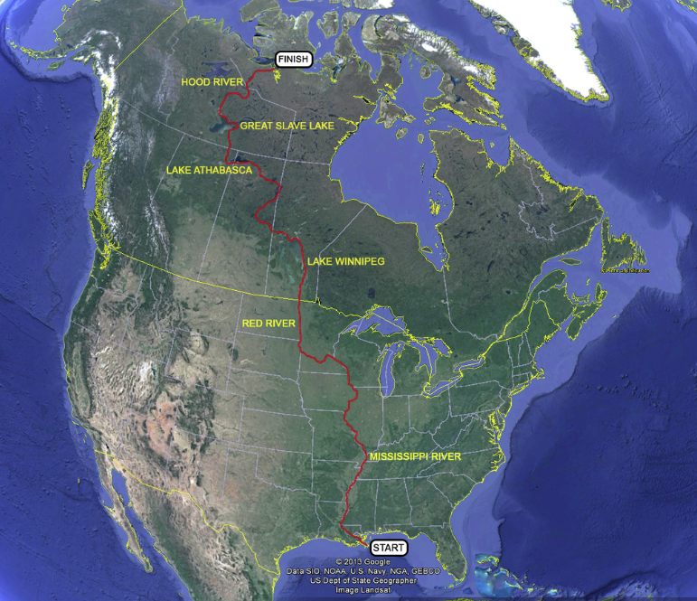 This is a map of the route that will be covered by a six-man expedition team over the next nine months as they attempt to paddle upstream from the Gulf of Mexico to the Arctic Ocean.
