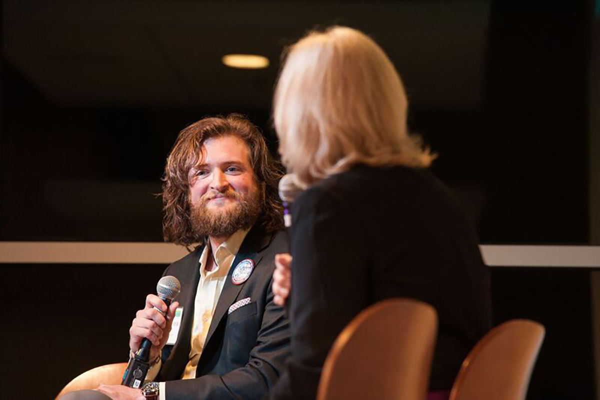 Student Chris Richardson was interviewed about his Colorado Mountain College experience by Kathy Kiser-Miller, Colorado Mountain College vice president and Steamboat campus dean.