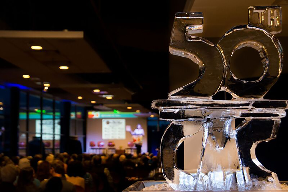 An ice sculpture at CMC's 50th anniversary celebration at the Steamboat Springs campus.