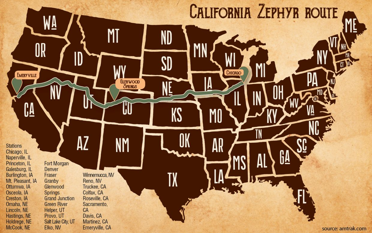 California Zephyr route map