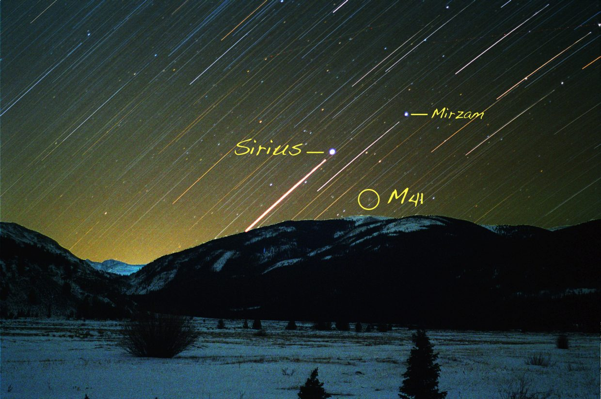 "Watch for Robert Frost's ""Great Overdog,"" Canis Major, to rise in the southeastern sky at about 8 p.m. in mid-December. The sizzling star Sirius marks this celestial canine's twinkly nose and is preceded across the sky by the star Mirzam, the Announcer. Use binoculars to turn M41's naked eye fuzz into a sparkling jewel box of stars."