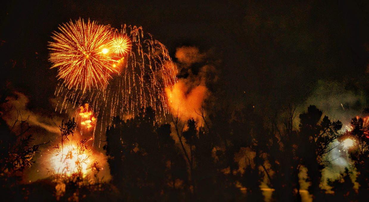 Fourth of July fireworks from the edge of the Yampa River. Submitted by Chris Lanham.
