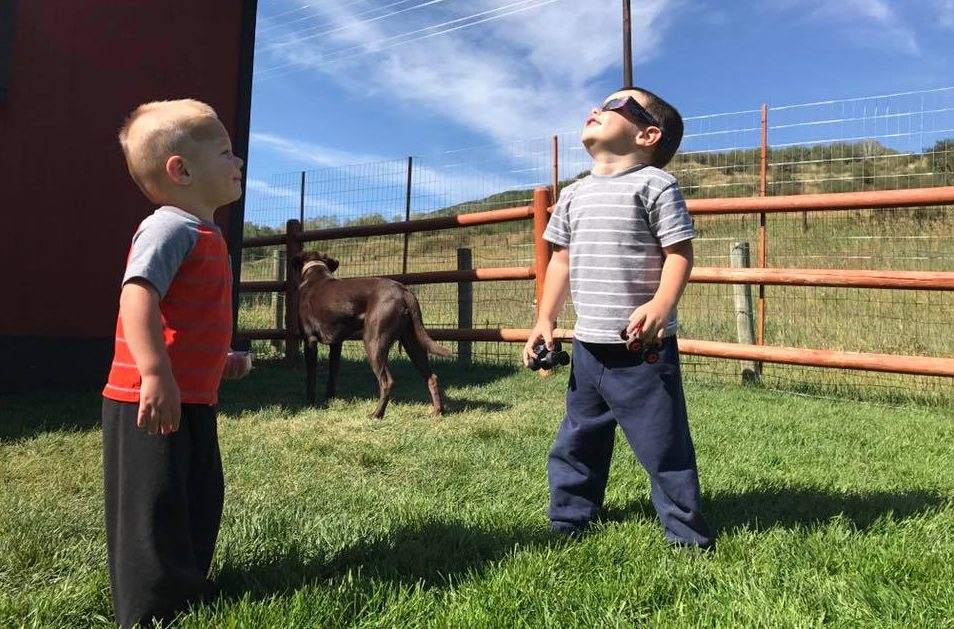 Christopher Paul Dreher took this photo of watching and waiting for the eclipse in Oak Creek.