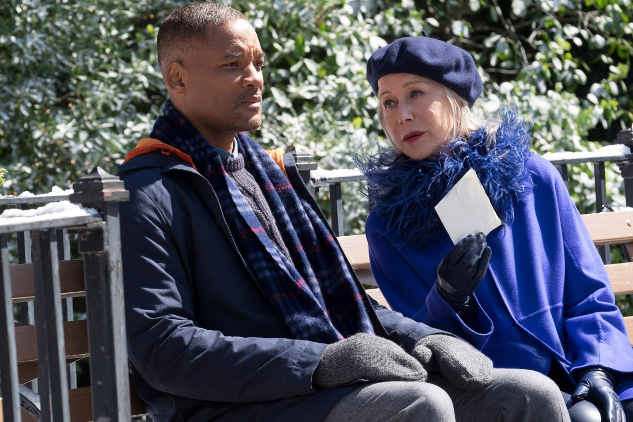 "Howard (Will Smith) is confronted by a woman claiming to be Death (Helen Mirren) in ""Collateral Beauty."" The movie is about a man grieving the loss of her daughter as his friends and business associates undertake unusual methods to help him."