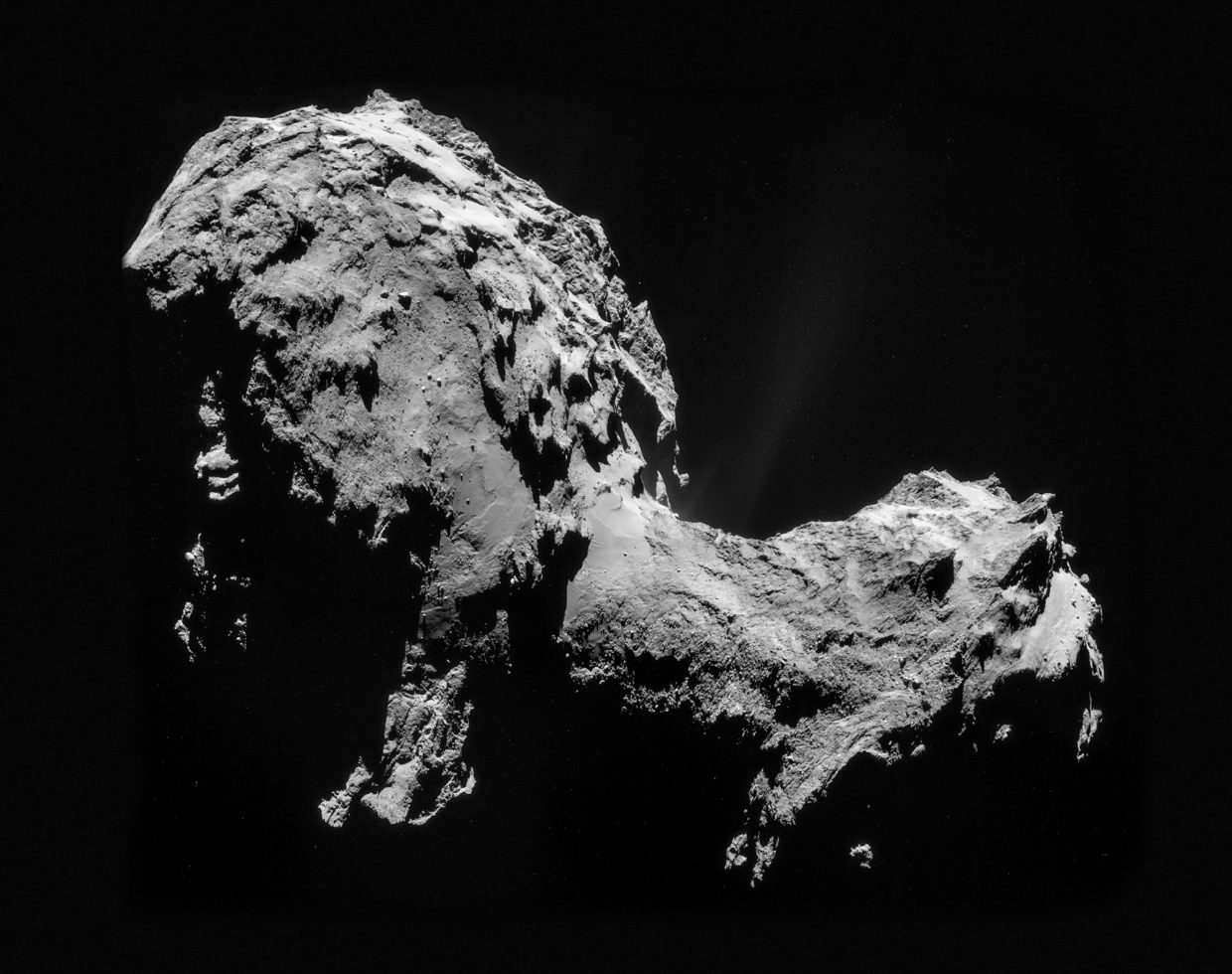 This mosaic of images reveals the unusual shape and surface of Comet Churyumov-Gerasimenko, the target of the European Space Agency's Rosetta orbiter and Philae lander. Philae will attempt the first controlled landing on a comet's nucleus Wednesday morning.
