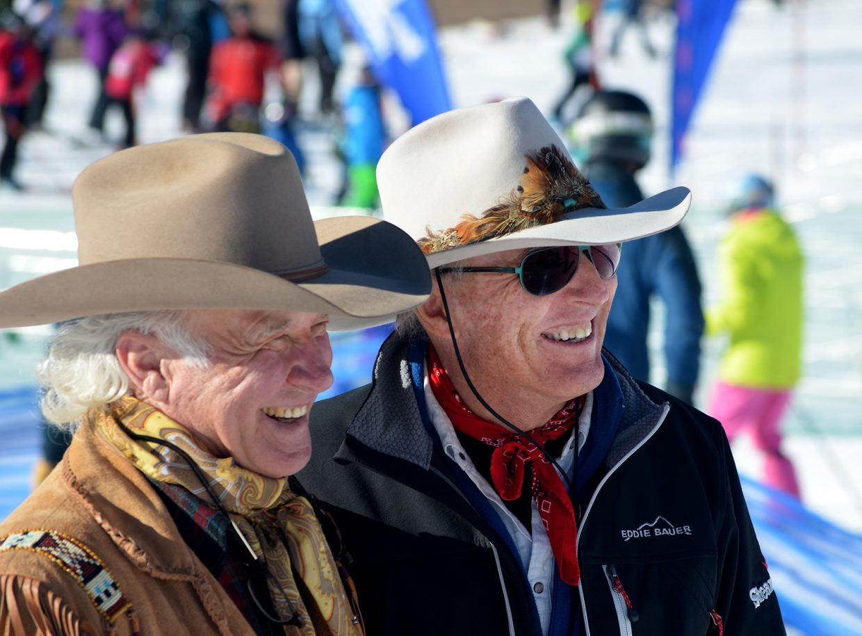 Cowboy Downhill founders six-time All-Around World Champion rodeo cowboy Larry Mahan, left, and Olympic silver medalist Billy Kidd reunited at the 40th anniversary of the event at the Steamboat Ski Area Jan. 20.