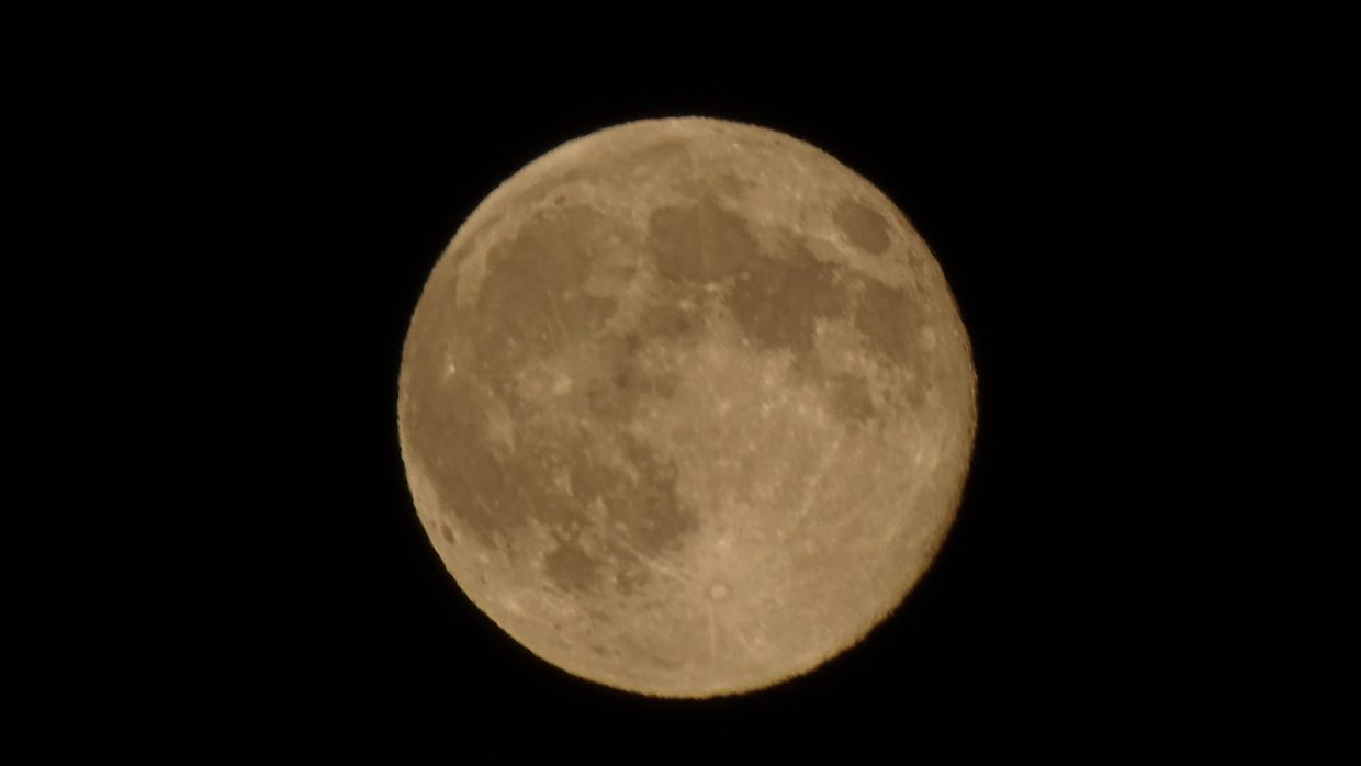 Nice shot of supermoon on Aug 10 ( a little late?). Submitted by Marianne Sacarisen.
