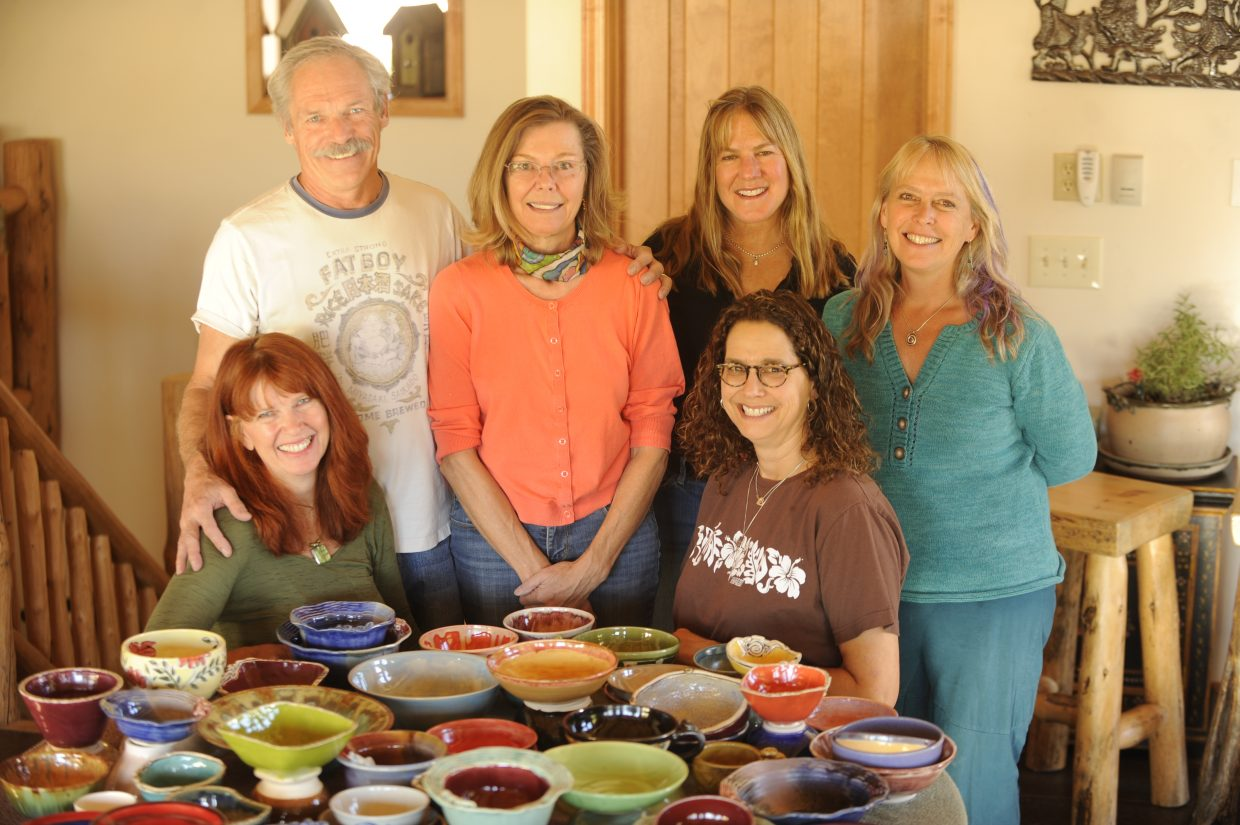 The Soup Bowl Supper fundraiser is Wednesday with two seatings at 5:30 and 7:30 p.m. Pictured are members of the Steamboat Clay Artisans Group, kneeling from left, Jody Elston and Sue Binsfield. Standing are, from left, Frank Bradley, Deb Babcock, Kathy Thayer and Gail Holthausen.