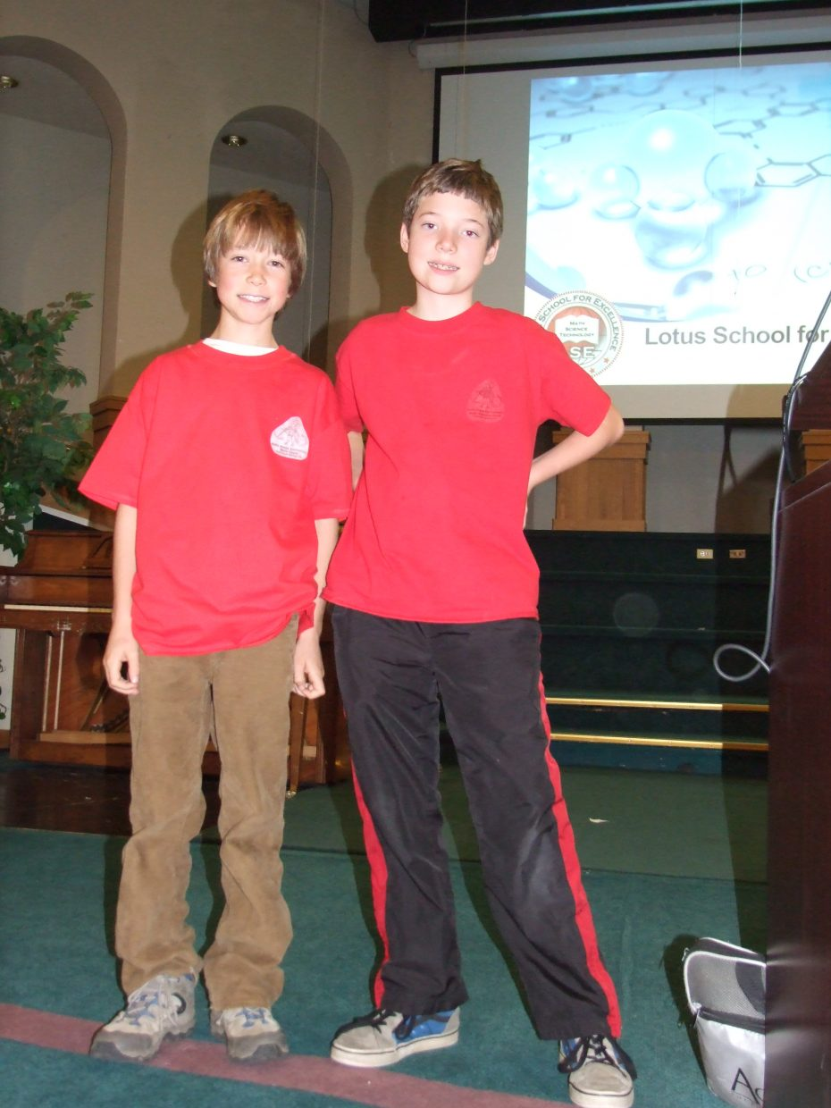 Indi Kretzschmar and Shane Lambert traveled to Denver for the Math Matters contest at the Lotus School for Excellence on Saturday November 15, 2014. Both boys placed in the top 25 % with Shane placing 7th overall. Indi and Shane are on the Soda Creek Elementary Math Team. Submitted by: Sally Lambert