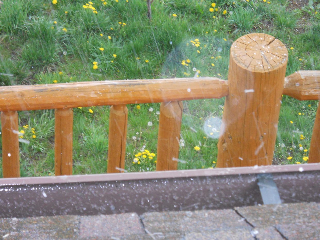 The weather changes so fast - one minute it was sprinkling - the next minute the hail started! Totally awesome! Have a blessed day. Submitted by Roxie Pranger.