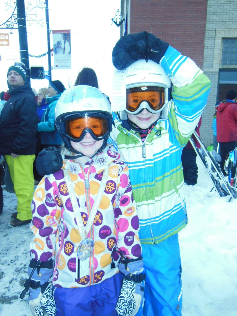 Hazel Ciufo and Annabelle Stone bring home the gold in the Winter Carnival Street three-legged race for 5-8 year olds. Submitted by Robin Stone.