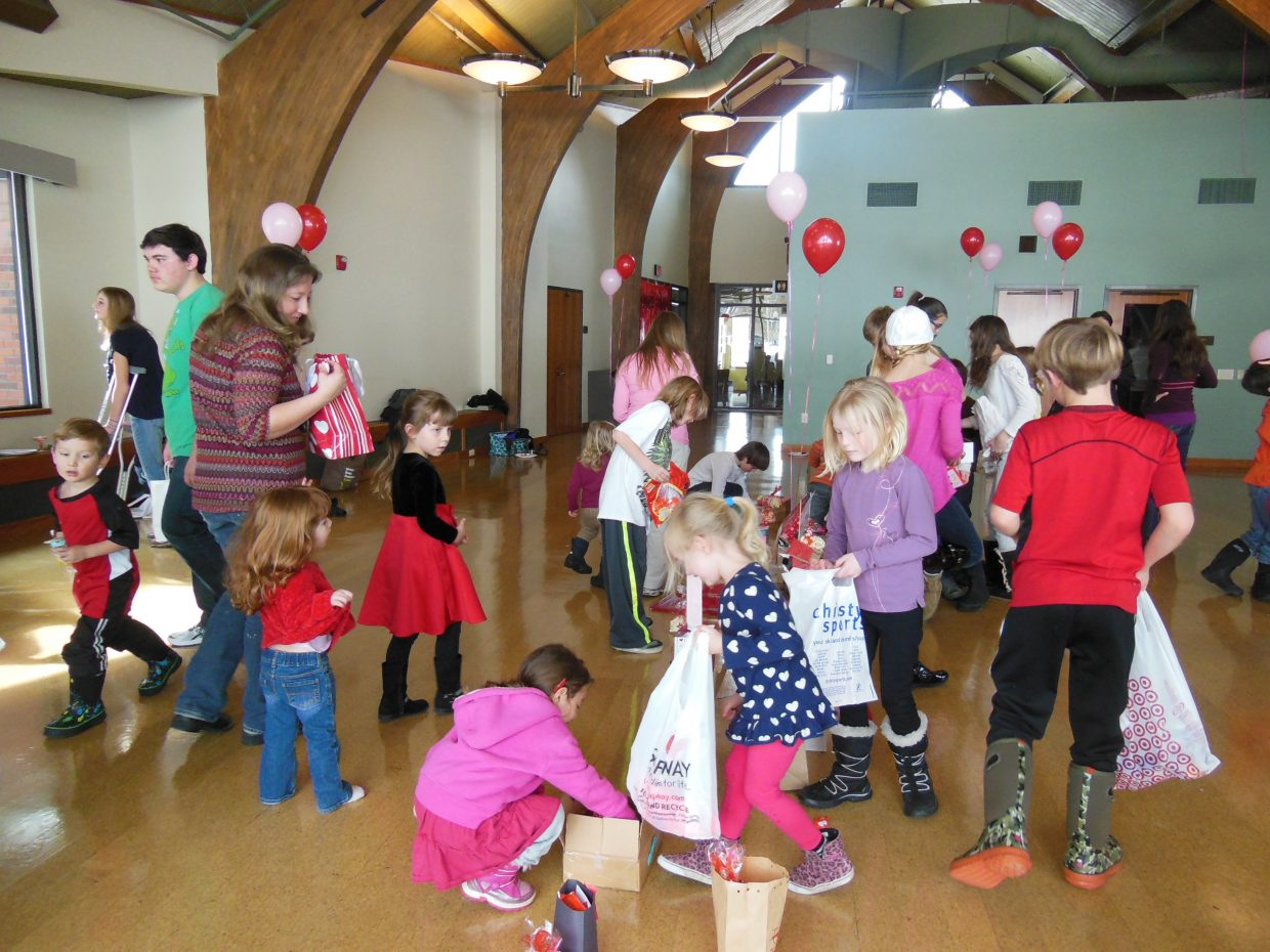Steamboat homeschoolers deliver valentines at Library Hall. Submitted by Robin Stone.