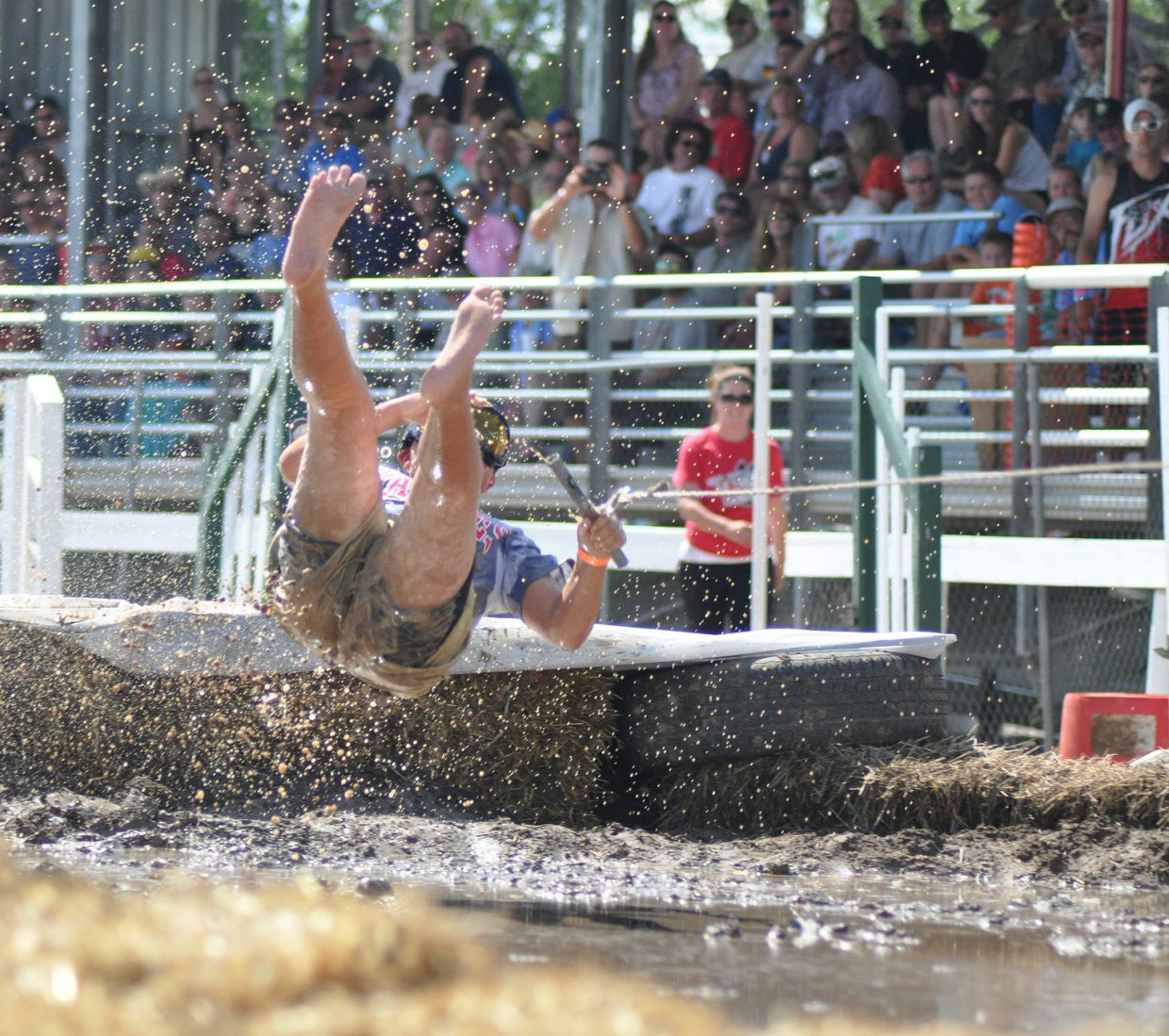 A mudsurfer at the 2014 Routt County RedneX Games in Hayden, Colorado. Submitted by: Wendy Lind