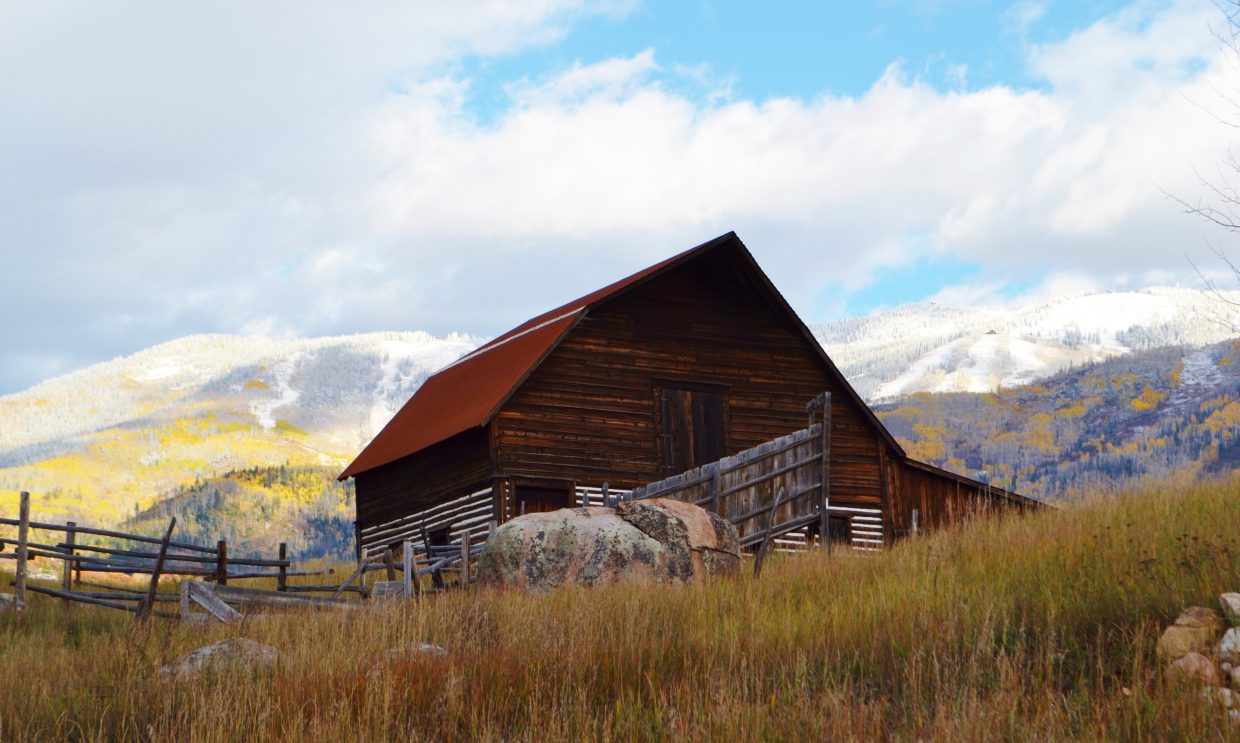 """Steamboat's iconic barn with a """"dusting of snow."""" Submitted by Jody Bosick."""
